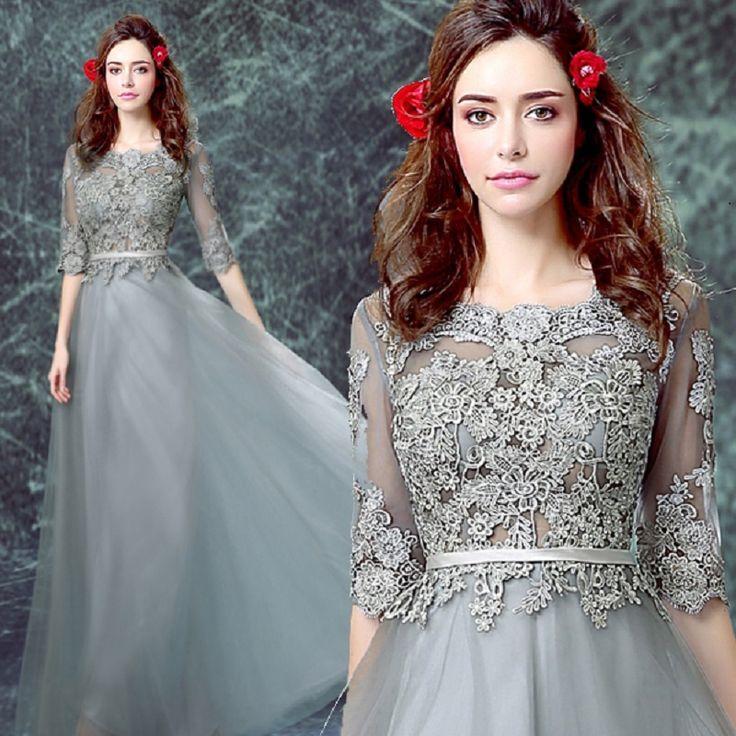ZIPPER gray Evening Long Dresses Femme Avondjurken Party Dress $120.84 => Save up to 60% and Free Shipping => Order Now! #fashion #woman #shop #diy www.weddress.net/...