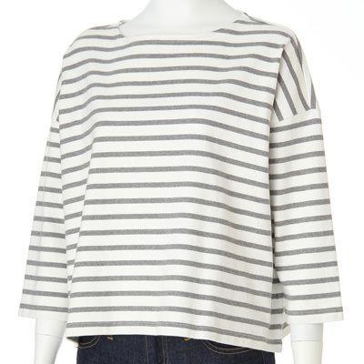 オーガニックコットン太番手ボーダードロップショルダーTシャツ 婦人S・白×ネイビー | 無印良品ネットストア