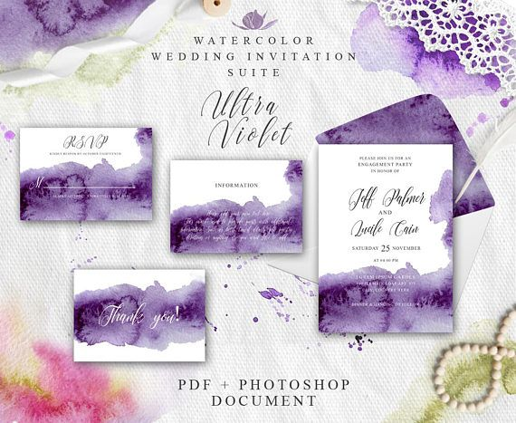 Ultra violet Wedding invitation template Printable invitation Purple wedding set Wedding suit PDF Watercolor splash Instant download Violet #wedding #invitation #ultra #violet #watercolor