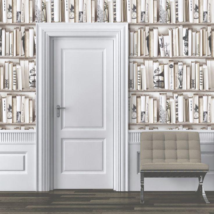 Muriva Encyclopedia Bookcase Wallpaper - Cream - http://godecorating.co.uk/muriva-encyclopedia-bookcase-wallpaper-cream/