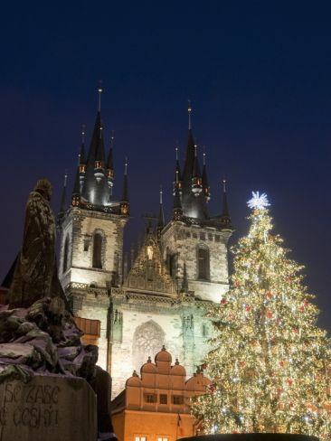 Christmas Tree, Gothic Tyn Church and Statue of Jan Hus. Old Town Square, Stare Mesto, Prague