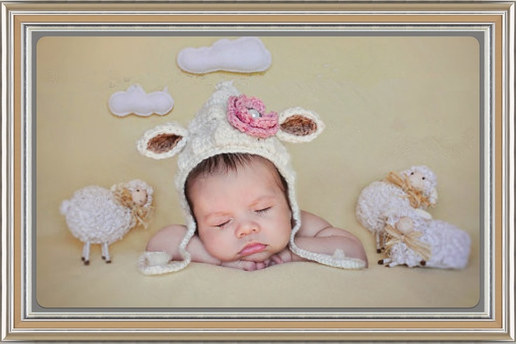 This precious little pixie lamb bonnet is so sweet. It is made in a soft off-white cotton yarn with brown inner ears & pink flower with vintage style button. It would be a perfect baby shower gift, accessory for newborn photos, or simply a special adornment for your precious little one to wear. ...