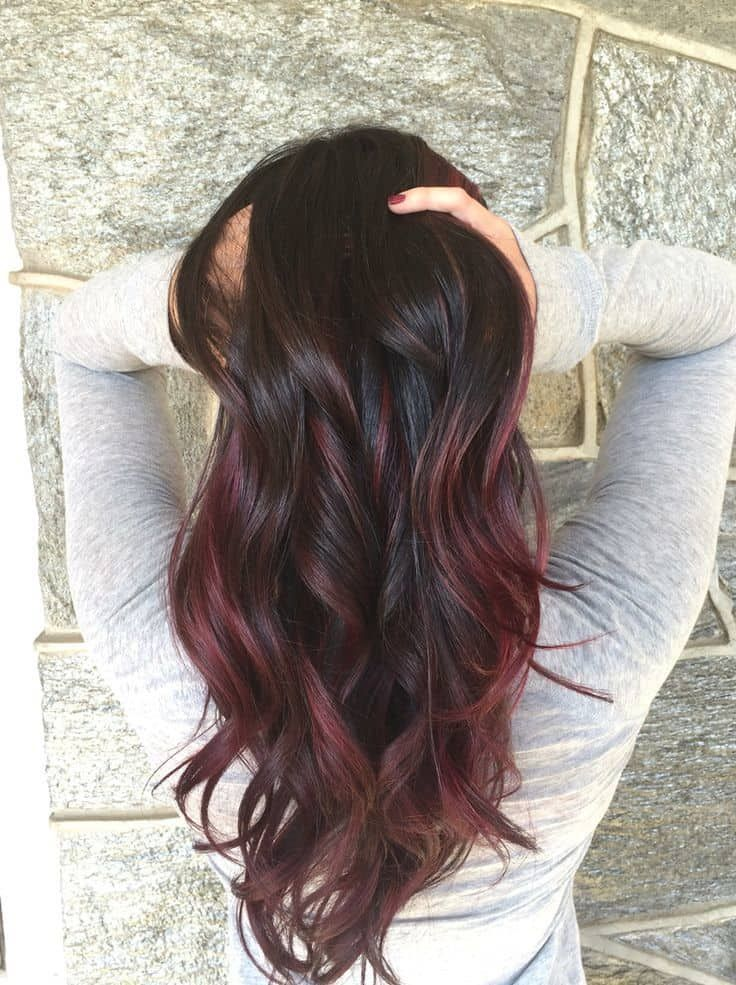 7 Mind Blowing Red Hair Highlights For Asian Women Red Balayage Hair Red Highlights In Brown Hair Hair Color Red Highlights