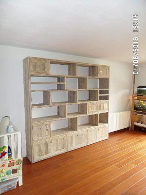 Steigerhouten vakkenkast doorkijkkast boekenkast wandmeubel