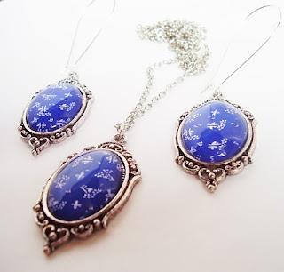 Jewelry set - hungarian kékfestő
