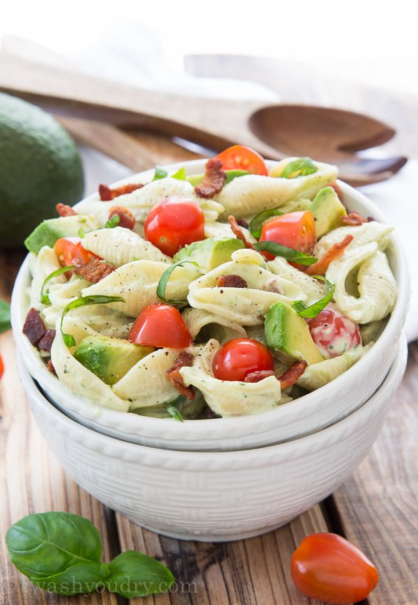 Make your summer better with this Creamy Avocado Pasta Salad. It's full of avocado, tomato, bacon, basil all in a creamy avocado ranch dressing!
