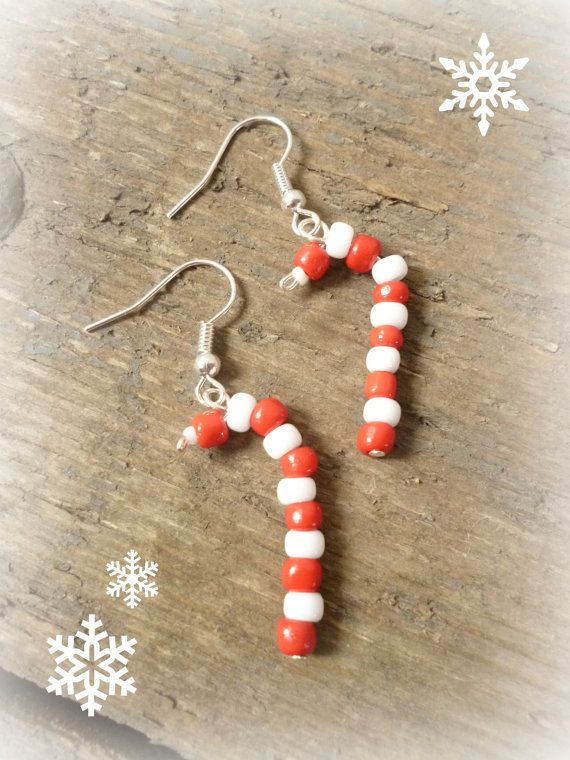 Candy Cane earrings handmade christmas earrings by reccabella