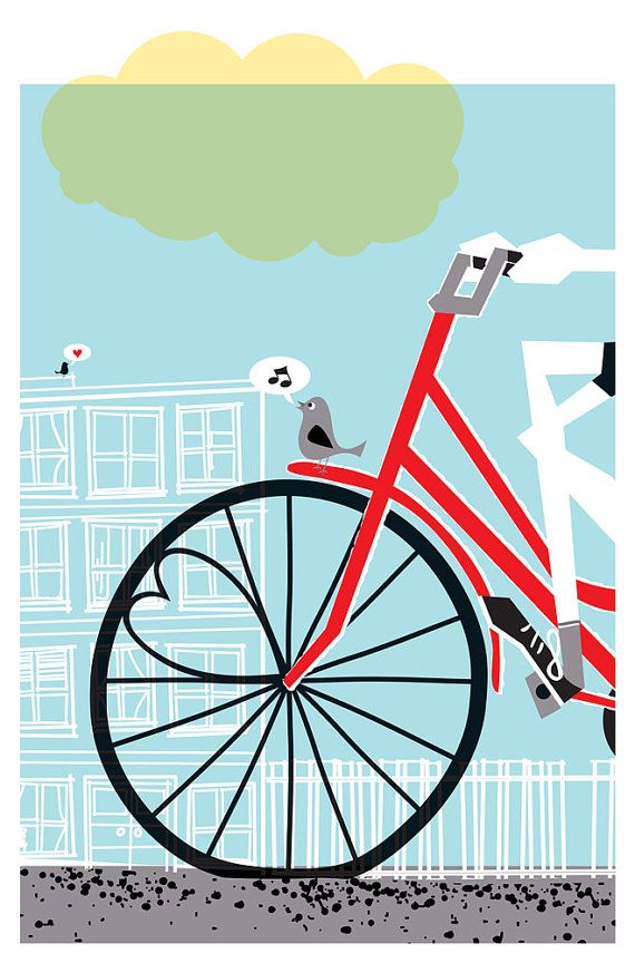 "New colorway! Bicycle and love themed art print ""Going To See My Baby Blue"". Hand silkscreen printed by strawberryluna."