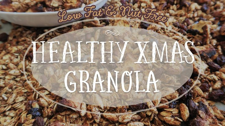 Who wouldn't love a healthy & crunchy bowl of christmas granola for breakfast on christmas day? This healthy granola recipe is nut-free and oil-free which makes it extremely low in fat! It even makes the perfect homemade present! :)