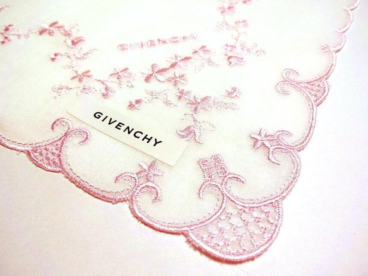 GIVENCHY Handkerchief scarf Cotton Pink Flower Embroidered Auth New Collectible #Givenchy #DesignerArtist