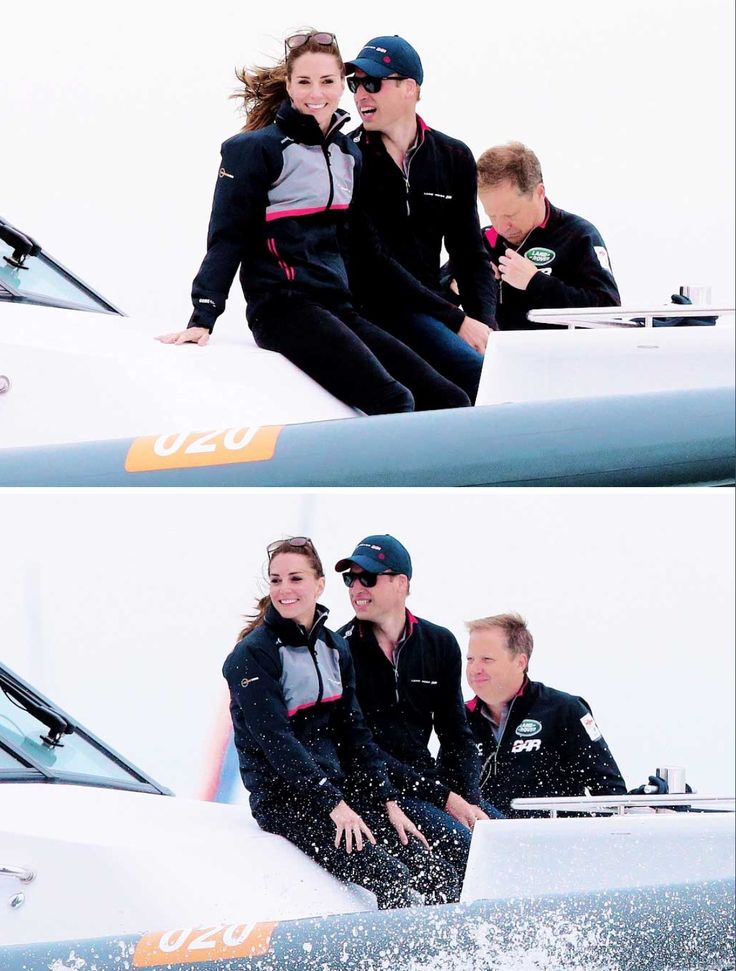 The Duke and Duchess of Cambridge ride in the front of a boat as they watch the America's Cup World Series Race on the Solent on July 24, 2016 in Portsmouth, United Kingdom.