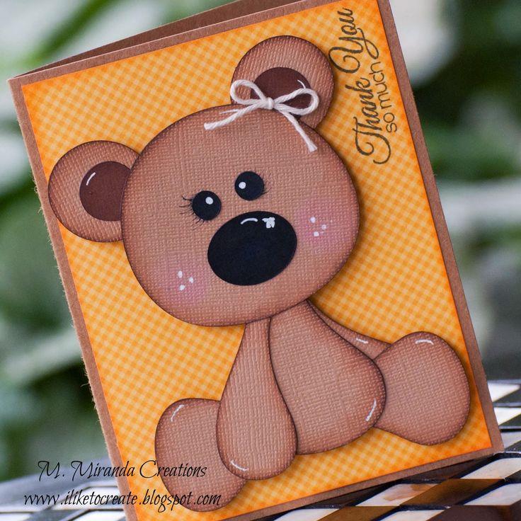 M Miranda Creations - Floppy Bear Thank You Card