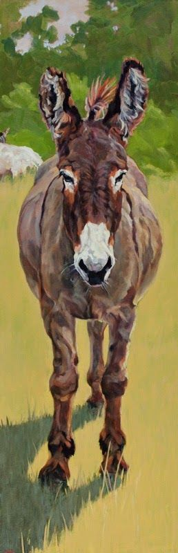 """Western Art International: Colorful Contemporary Donkey Art, Burro Painting Farm Animal""""Sicilian"""" by Contemporary Animal Artist Patricia A. Griffin"""