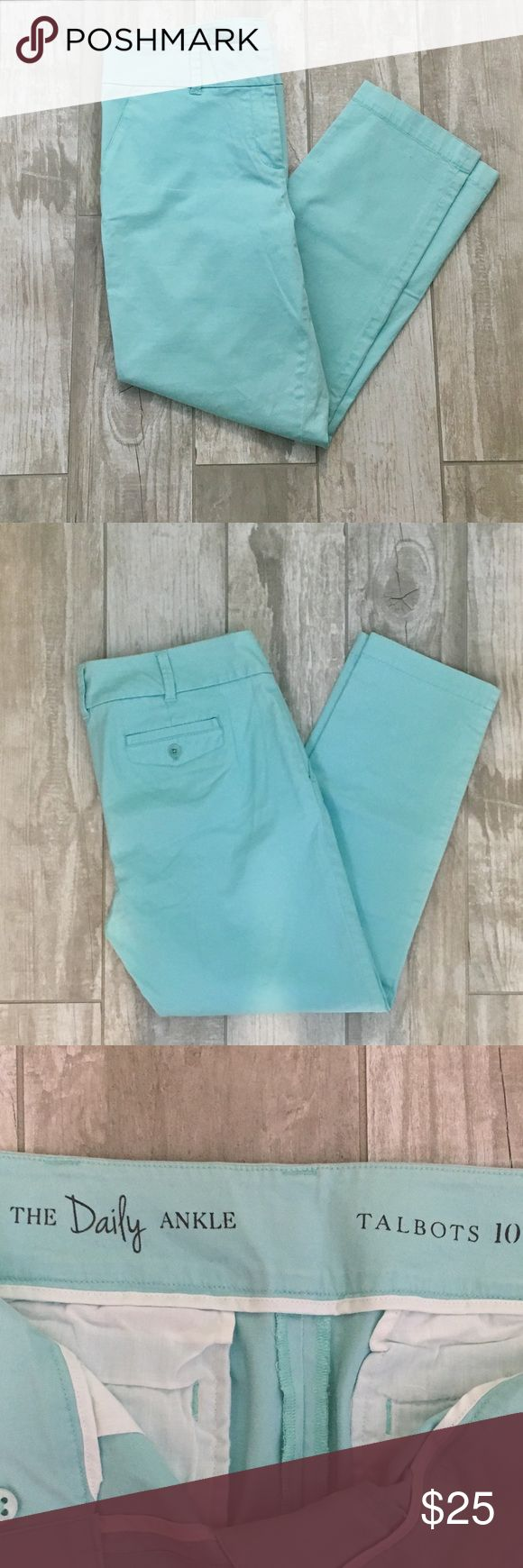 Talbots, sz 10,  Daily Ankle mint green pants Light mint green/blue ankle length pants. Only worn once so they are in excellent condition! These are size 10 and they fit well in the hips for any curvy shaped body types. Goes well with a basic top or can be dressed up with a blazer and heels. Talbots Pants Ankle & Cropped