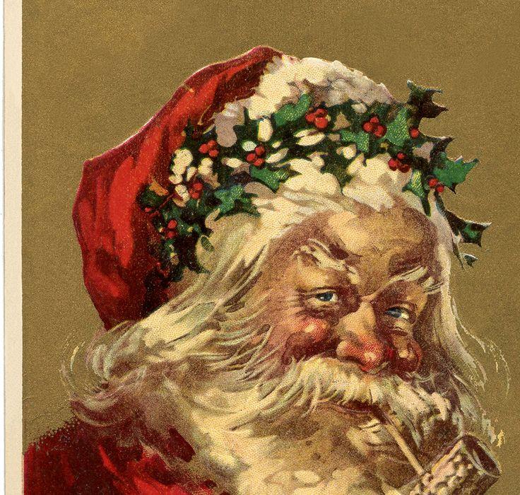 This is a wonderful Old World Santa Holly Crown Image! Santa Claus is Pagan!