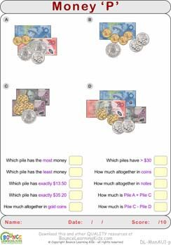 australian money learn to recognise and count australian banknotes and coins http. Black Bedroom Furniture Sets. Home Design Ideas