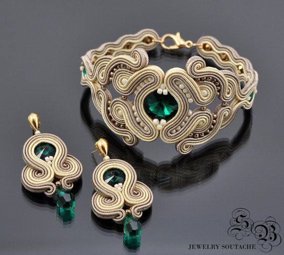 Set of bracelet and earrings,Soutache set,Elegant set,Glamour set,Soutache…
