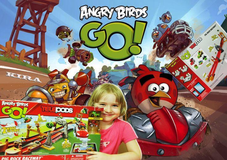 Кира распакует гоночную трассу Angry Birds Go Opening Angry Birds Pig Ro...