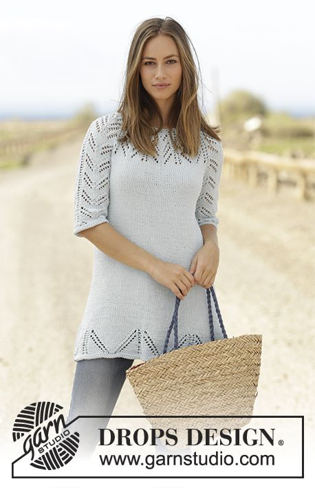 Time for Tea by DROPS Design Tunic with lace pattern, raglan and ¾ sleeve, worked top down in DROPS Paris. Size: S - XXXL Free knitting pattern DROPS 178-15