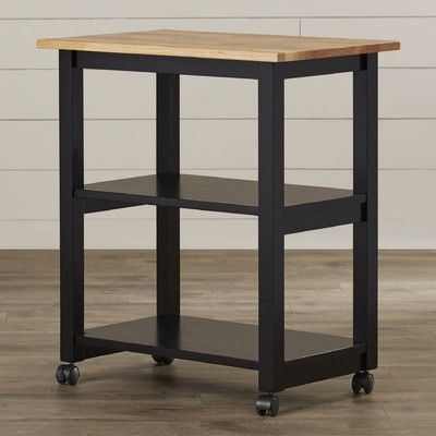 August Grove De Soto Kitchen Cart with Butcher Block Top & Reviews | Wayfair