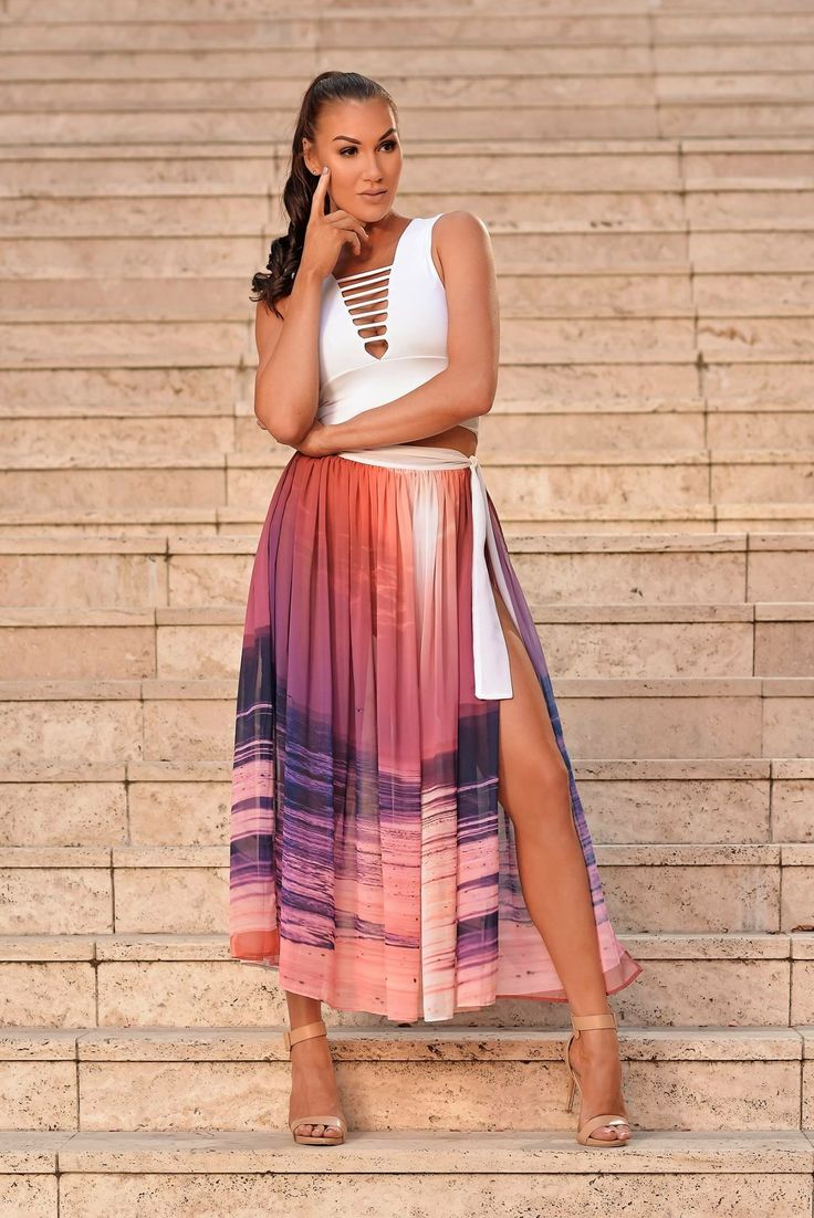 "Wrap skirt ""Angel"" print featuring sunset image of 80 Mile Beach, Western Australia"