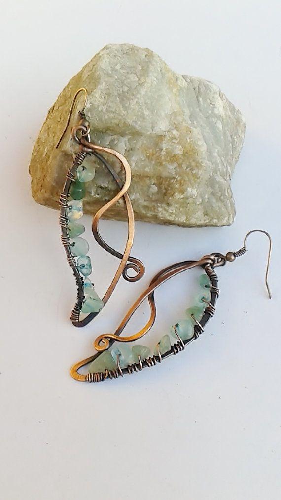 Copper earrings Copper wire earrings Fairy : by Tangledworld