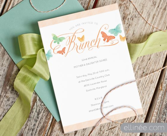 Free printable // Printable Butterfly Brunch Invitation