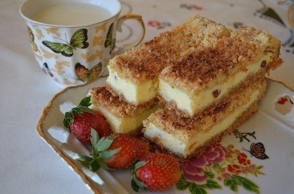 Pieskový tvarohový koláč