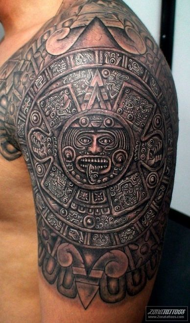 shoulder-tattoos-men-aztec                                                                                                                                                      More