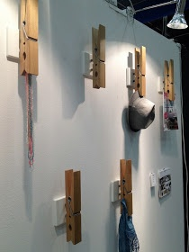 Clothes pins as coatrack mounted on wall - clever! La maison d'Anna G.: Formex jan 2013 - palette neutre