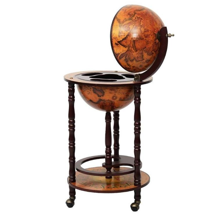 "Wine Bar Stand 17"" Wood Globe Liquor Bottle Shelf Rack Home Kitchen Storage NEW #1"