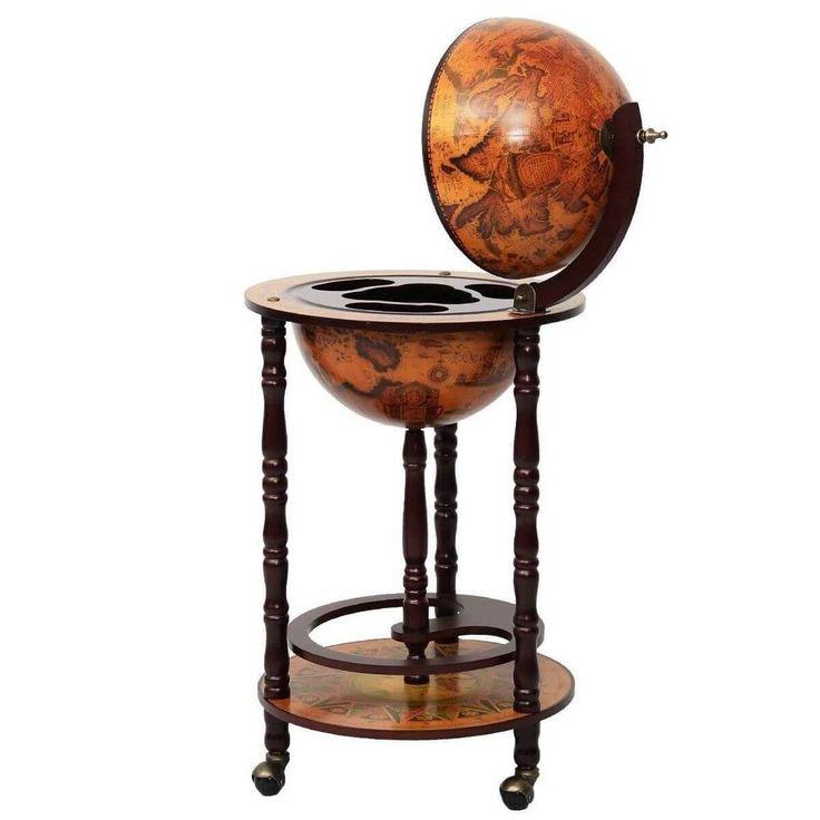 "Wine Bar Stand 17"" Wood Globe Liquor Bottle Shelf Rack Home Kitchen Storage NEW #1"