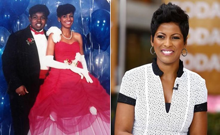 Tamron Hall is seen in her prom picture, left, and on the 'Today' show in 2014