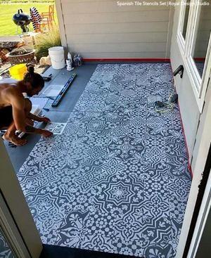 Spanish Tile Stencil Set Patio Flooring Diy Patio