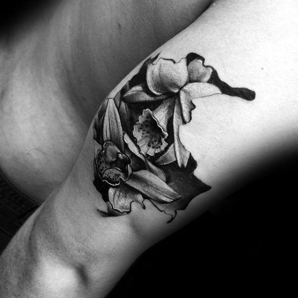 70 Orchidee Tattoos für Männer – zeitlose Blumen Design-Ideen  – Tattoo – #Blu…