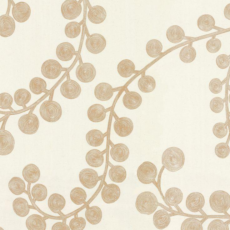 Metallic Gold Swirl Branch Cotton Fabric | Goldilocks : Gilt | Loom Decor