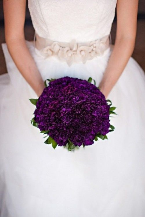 purple carnations look great... wedding flower bouquet, bridal bouquet, wedding flowers, add pic source on comment and we will update it. www.myfloweraffair.com can create this beautiful wedding flower look.
