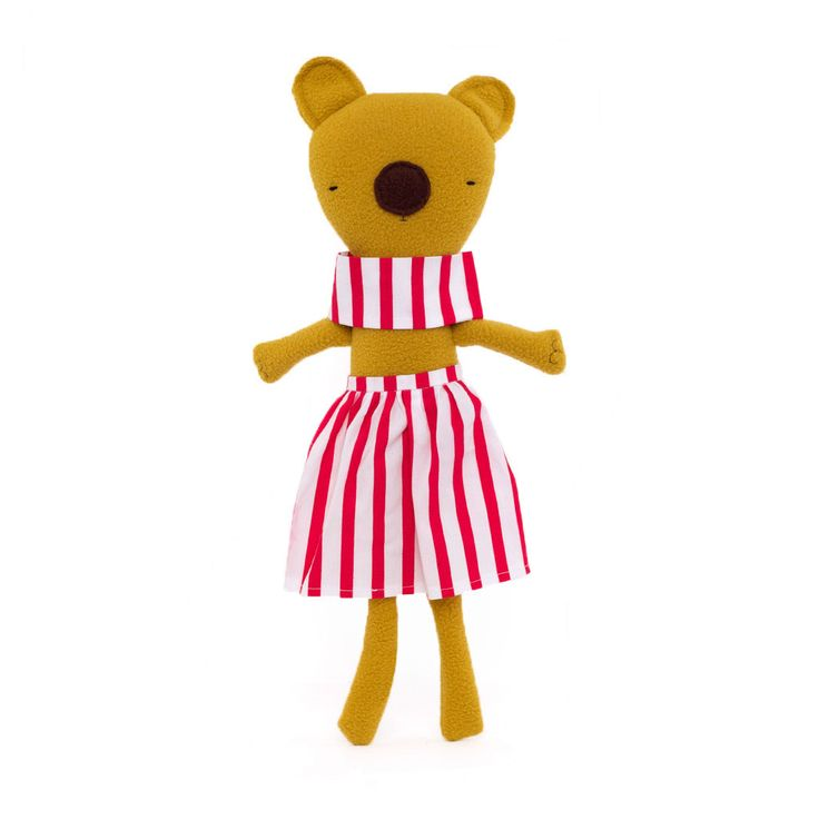 Long-legged Bear in Pink & White Stripes by Silly Dolls Canada