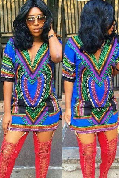 Multi V-neck African Vintage Tribal Print Dress