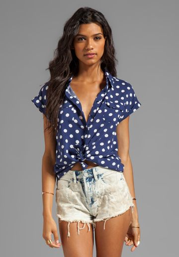 MINKPINK Forget Me Not Short Sleeve Shirt in Navy at Revolve Clothing - Free Shipping!