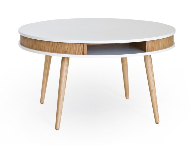HUGO Soffbord Rund Vit/Ek/EB i gruppen Inomhus / Bord / Soffbord hos Furniturebox (100-13-16266)