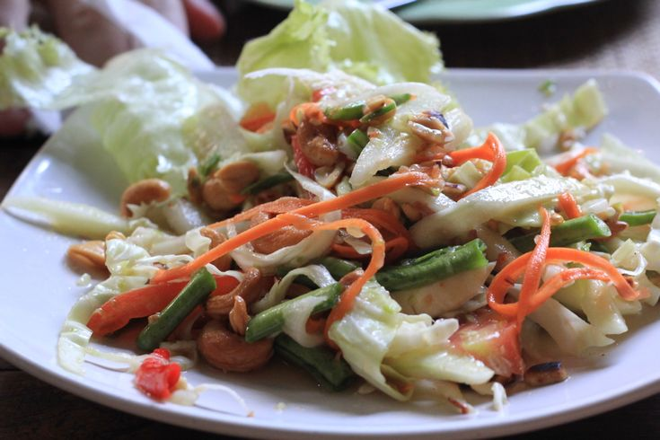 som tum with cabbage and cashews recipe indian dishes green papaya salad dinner on hebbar s kitchen dinner recipes id=18918