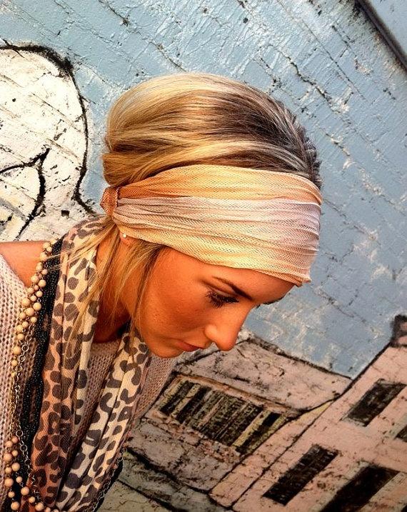 Cream Stretch Headband  Women's Spring wide hair by ThreeBirdNest,