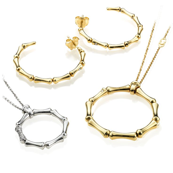 CHIMENTO Bamboo Regular yellow and white gold necklaces and earrings.