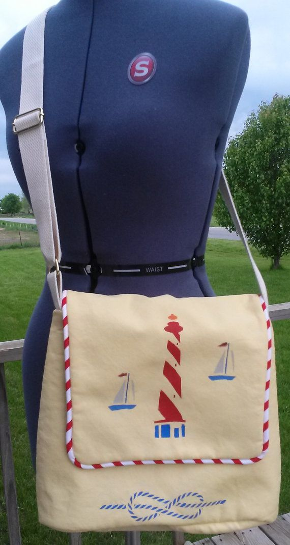 Lighthouse Stenciled Yellow Crossbody Purse by SewVeryBerry