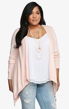 2017 Fashion trends! Your Curves, Your Style Dia&Co picks out fashion for you & delivers to your door. Sizes 14&up. Plus sized fashion picked just for you. #Dia&Co #Sponsored white tank, rose cardigan, distressed denim
