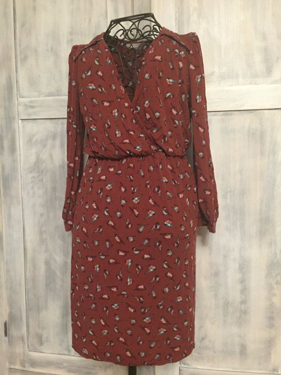 Burgundy Boho Bird Dress by VintageNerdBoutique on Etsy