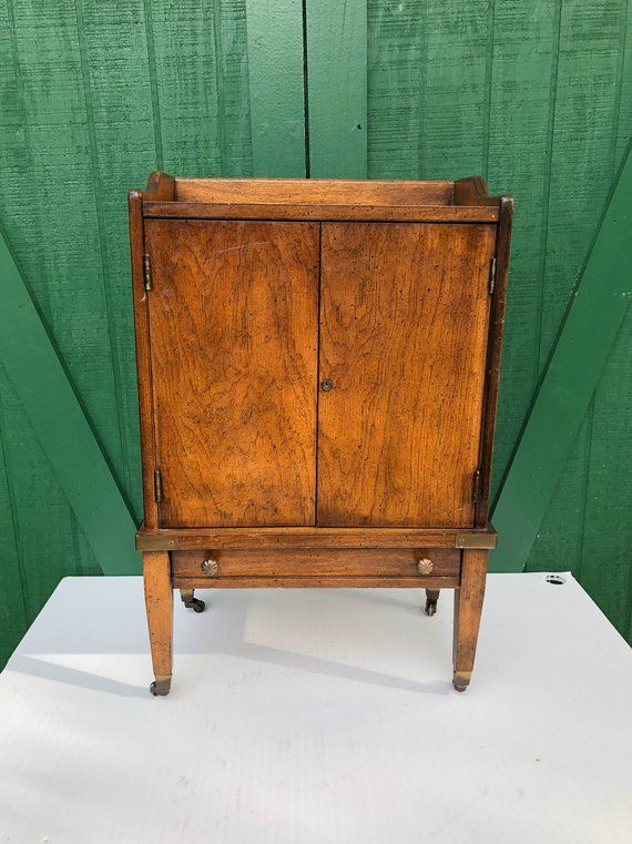 Delicieux Vintage Two Door Cabinet,Brandt Of Hagertown,Maryland ,Wheels,End Table,  Hidden Storage Table, Rolling Stand In 2019   Furniture   Table Storage, ...