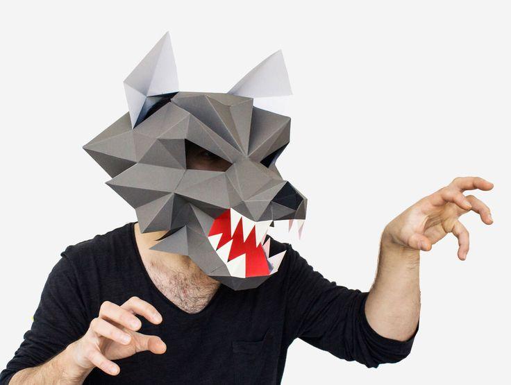 Make your own Werewolf Mask, Printable Animal Mask, Instant Pdf download, DIY Halloween Paper Mask, 3D Pattern, Polygon Masks door AwesomePatterns op Etsy https://www.etsy.com/nl/listing/397957303/make-your-own-werewolf-mask-printable