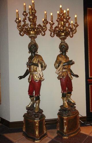 Pair Of Venetian Blackamoor Torcheres Blackamoor